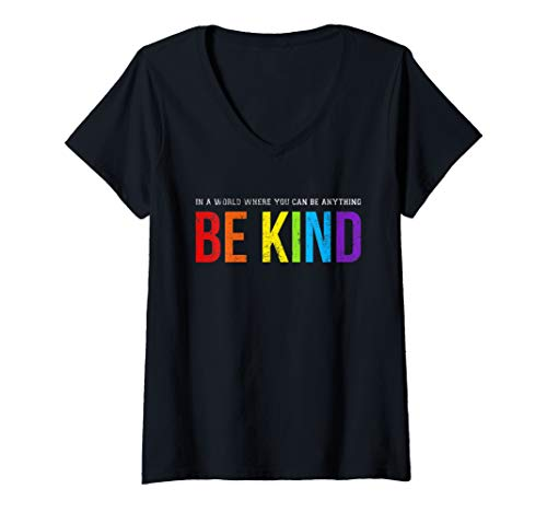 Womens Be Kind Gay Les Pride Rainbow V-Neck T-Shirt