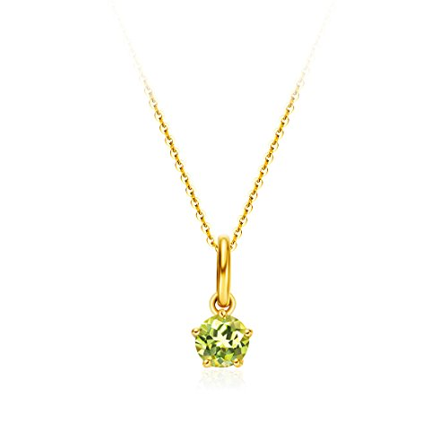 (Carleen Solid 18K Yellow Gold Birthday Gemstone Solitaire August Birthstone Natural Peridot Necklace Pendant Delicate Dainty Fine Jewelry for Women Girl, 18 inch)