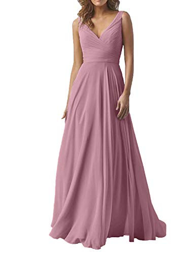 Women's Double V Neck Wedding Bridesmaid Dresses Long A-Line Chiffon Formal Evening Maxi Dress 2019 Mauve