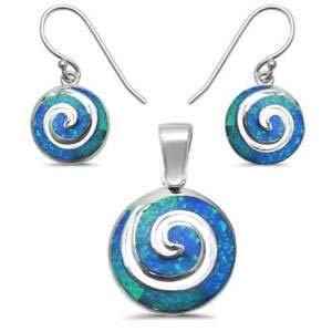 Blue Opal Swirl 925 Sterling Silver Earring & Pendant Set 1