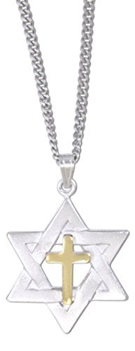 Dicksons Silver Plated Star of David with Gold Plated Cross Inlay Necklace on 18 Link Chain by Dicksons