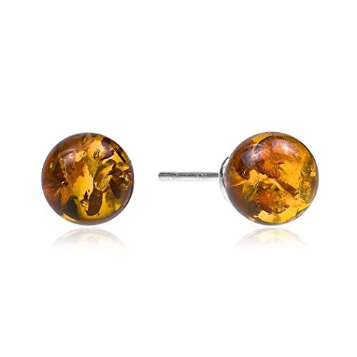 Amber Sterling Silver Small Stud Ball Earrings 8 mm