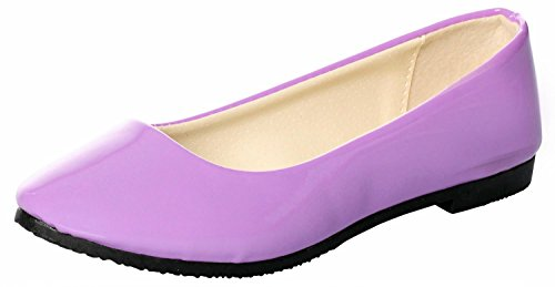 UJoowalk Womens Solid Pointed Toe Ballet Slip on Flat Shoes Smooth Purple