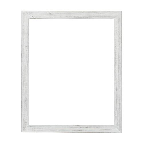 "(Millbrook Collection Country Chic Wood Picture Frame Narrow 1.5"" Inch Solid Wood Molding for Photos, Artwork & Prints Includes Glass - Made in USA - [Marshmellow White - 16"