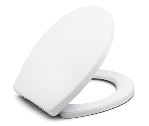 ite Round Toilet Seat with Cover, White, Slow-Close, Quick-Release for Easy Cleaning ()