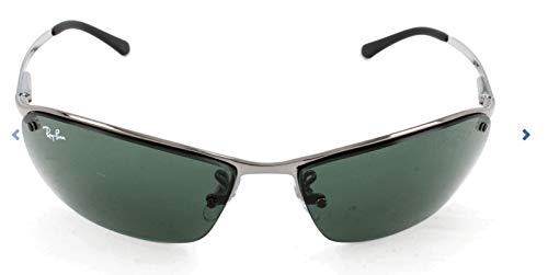 Ray-Ban Men's RB3183 Rectangular Metal Sunglasses, Gunmetal/Green, 63 ()