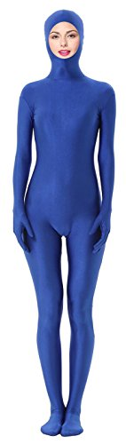[Marvoll Unisex Spandex Open Face Zentai Full Bodysuit for Kids and Adults (Large, Blue)] (Bodysuit Superman Adult Costumes)