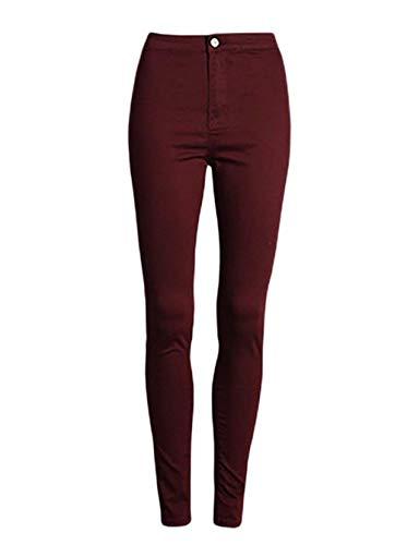 Fit Color Pantalones Las Marca Sólido Bolsillos Acogedores Rot Vaqueros Mode Dunkel Botón Alta Mujeres Y Slim Casuales Con De Lápiz Cintura Estiramiento qBPZwgrB