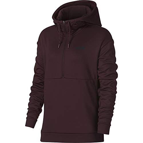 Nike Women's Therma 1/2 Zip Training Pullover Hoodie Burgundy Crush/Black Size Large
