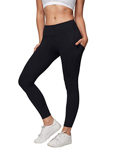 (AJISAI Womens Workout Leggings Mid-Waist Yoga Pants Running Tights with Side Pockets Black Size S )