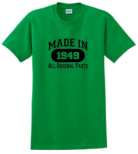70th Birthday Gifts for Mom 70th Birthday Gift Made 1949 All Original Parts T-Shirt XL Green