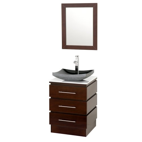Wyndham Collection Rioni 22 inch Pedestal Bathroom Vanity in Espresso with White Man-Made Stone Top with Black Granite Sink (Granite Pedestal)