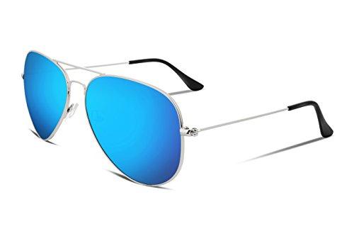 FEISEDY Vintage Men Aviator Sunglasses Metal Frame Plastic HD Lens Blue - Tinted Sunglasses Blue