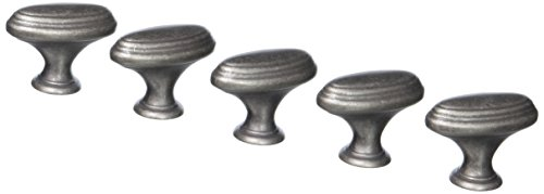 Amerock BP53032-WN Mulholland Weathered Nickel Oval Oblong Cabinet Hardware Knob - 1-7/16