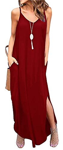 ETCYY Women's Summer Casual Stripe Sleeveless Loose Beach Maxi Dress (XL, Wine)