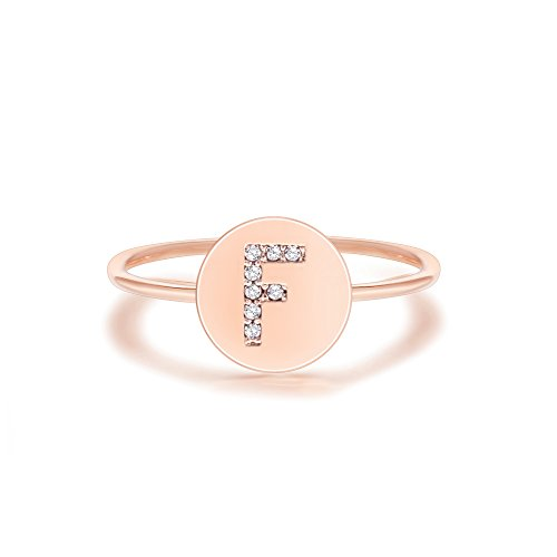 PAVOI 14K Rose Gold Plated Initial Ring Stackable Rings for Women | Fashion Rings - F Ring