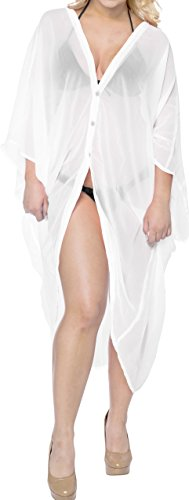 LA LEELA Chiffon Solid Kimono Cover Up Women OSFM 14-28 [L-4X] White_789 by LA LEELA