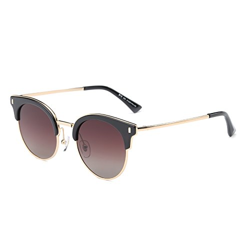 DONNA Womens Vintage HD Polarized Small Round Semi Rimless Sunglasses UV Protection - Scratches From Glasses Remove Prescription