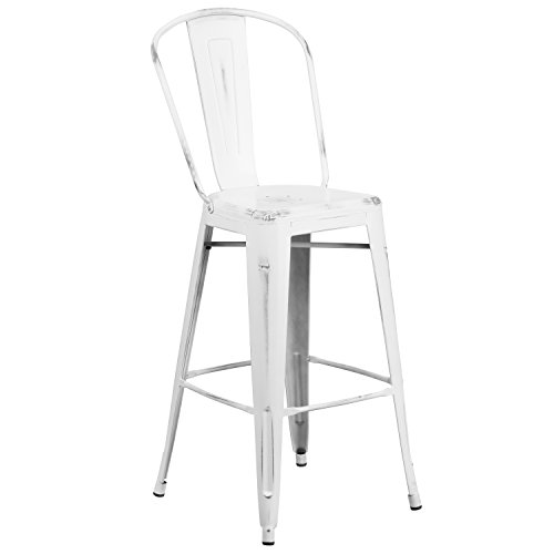 Flash Furniture ET-3534-30-WH-GG Colorful Restaurant Barstools Distressed White Metal Stool, 1 Pack, - Room Bar Stool Metal Dining
