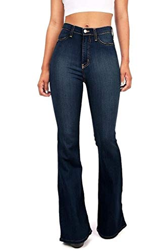 Women's Juniors Trendy High Waist Slim Denim Flare Jeans Bell Bottom Pants (0/2, Blue 1)