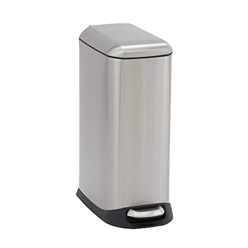 (Design Trend Oval Slim Stainless Steel Step Trash Can with Soft Close Lid | 20 Liter / 5 Gallon, 16.26
