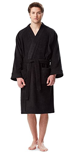 ono Bathrobe Turkish Cotton Terry Cloth Robe Black S/M ()