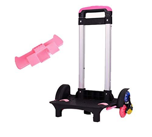 Trolley para mochila - Carretilla con ruedas Carretilla no plegable con ruedas de aleación de aluminio para mochila (Rosa, 3...