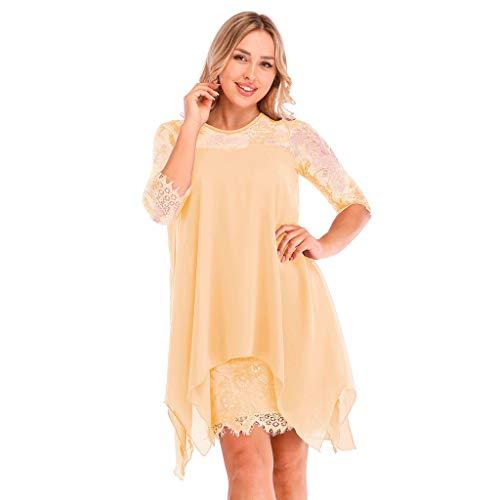 Womens Dresses Plus Size, E_Vicia Women Summer Fashion Chiffon Dresses Overlay Sleeveless Lace Oversized Casual Dress ()