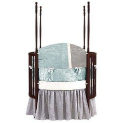Baby Doll Bedding Round Crib Bedding Set, Blue, 4 Piece