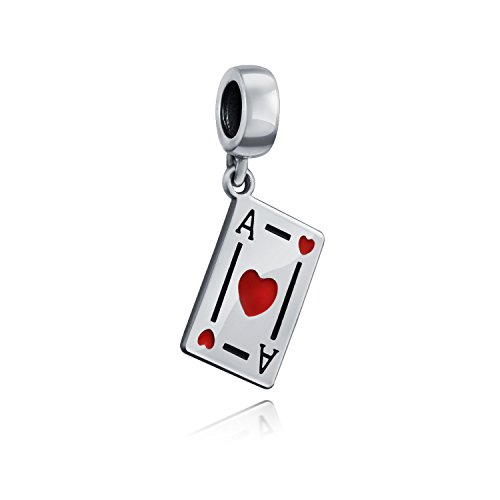 Good Luck Ace Of Hearts Poker Player Cards Casino Travel Dangle Charm Bead Sterling Silver Fits European Bracelet