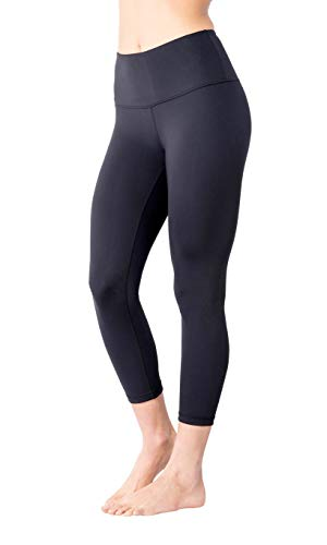 Yogalicious High Waist Ultra Soft Lightweight Capris - High Rise Yoga Pants - Classic Black - Small