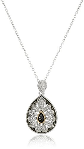 Sterling Silver and 14k Gold Black Diamond Pear Shaped Art Deco Pendant Necklace, (Gold Art Deco Necklace)