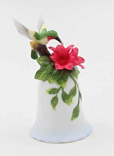 (Cosmos Gifts Fine Elegant Porcelain Hummingbird Bird with Red Flower Mini Bell Figurine, 4