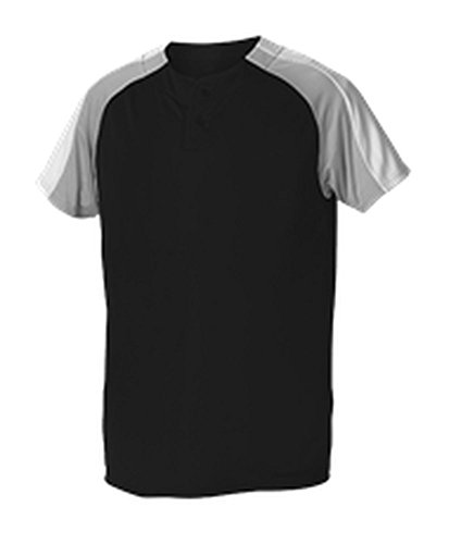 Alleson Baseball Jersey - Alleson Youth 2 Button Henley Baseball Jersey Black, Grey, White S 5063CHY 5063CHY-BKGRWH-S