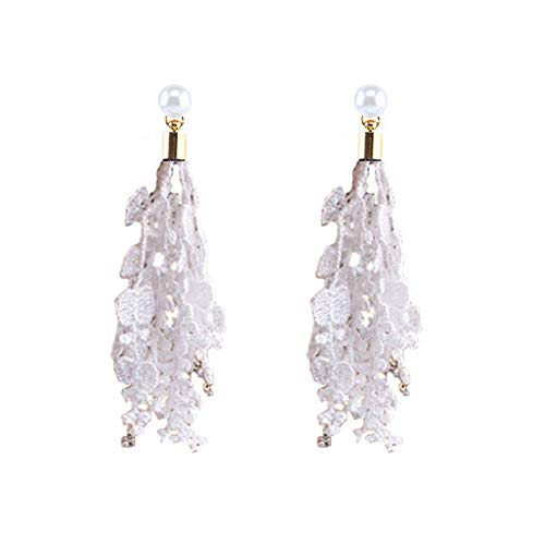 Lace Stud Earrings 1 Pair Bridal Wedding Lace Tassel with Glitter Zircons Earrings (One size, White)