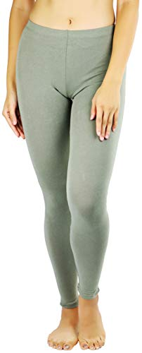 ToBeInStyle Women's Essential Cotton Stretch Full Length Leggings - Military Green - L