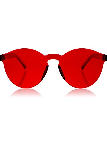 Blulu Round Rimless Sunglasses Tinted Eyewear Transparent Candy Color Sunglasses (1 Piece, Red)