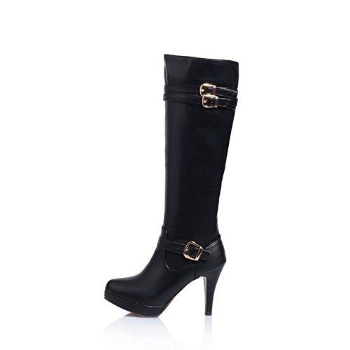 Soft Material Buckle Stiletto Ladies Black Boots Platform BalaMasa OxSywqRIUA