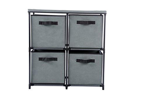 Homebi 4-Drawer Storage Chest Shelf Unit Storage Cabinet Multi-Bin Organizer with Removable Non-woven Fabric Bins in Grey,25