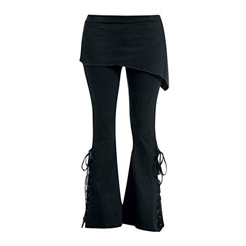 alta lunghi Pantaloni zampa pantaloni da Pantaloni Pantaloni Nero alta uomo 5XL a M a Pantaloni Leggings vita vita donna neri a neri nero da wqnIWX8YO