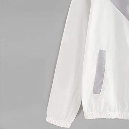 Sportivo Giacche Cappotto Manica Lunga Moda Sciolto Con Grau Vento Incappucciato Primaverile Outdoor Autunno Casuale Eleganti Donna Giacca Windbreaker Cerniera qZwO6fO