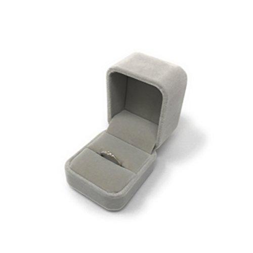 B-TOPAZ 指輪ケース ギフトボックス ジュエリーボックス リングボックス プレゼント に ステキ オシャレ 結婚指輪 アクセサリーケース (グレー)