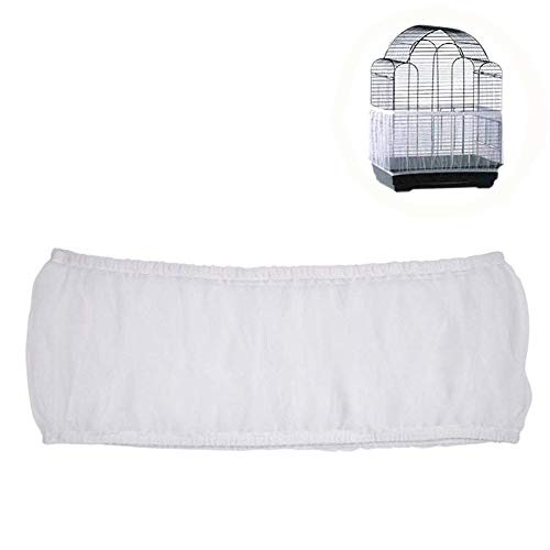 HMH PET Bird Cage Seed Catcher Guard Parrot Nylon Mesh Net Cover Stretchy Shell Soft Airy Skirt Traps Basket Cage (L, White)