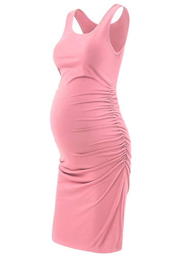 GINKANA Maternity Tank Dress Bodycon Sleeveless Ruched Knee Length Casual Fitted Pregnant Dress Pink