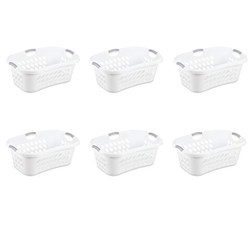 Sterilite 12108006 1.25 Bushel/44 Liter Ultra Hip Hold Laundry Basket, White Basket w/ Titanium Inserts, 6-Pack ()