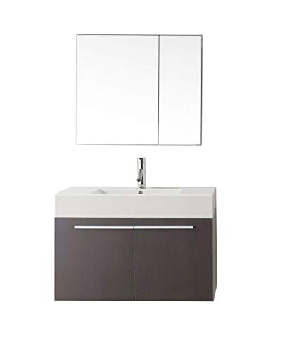 Virtu USA Midori 36 inch Single Sink Bathroom Vanity Set in Wenge w/Integrated Square Sink, White Polymarble Countertop, Single Hole Polished Chrome, 1 Mirror - JS-50136-WG ()