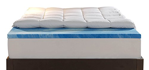 Sleep Innovations Gel Memory Foam 4-inch Dual Layer Mattress Topper, Made in The USA with a 10-Year Warranty - Queen Size ()