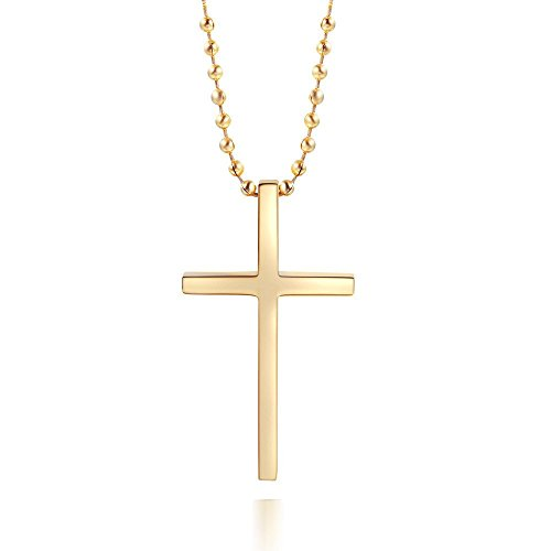 Simple Stainless Steel Cross Pendant Chain Necklace for Men Women, 20''-36'' Link Chain (36'' Chain, Gold) (Curl Ssl Certificate Problem Invalid Certificate Chain)