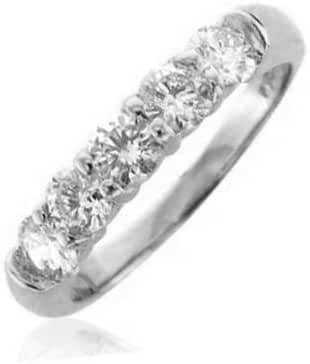 IGI Certified 14k White Gold 5 Stone Diamond Ring Band ( 1.00 Carat )