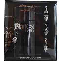 BLACK XS L'EXCES by Paco Rabanne Gift Set for MEN: EDT INTENSE SPRAY 3.4 OZ & 4 SKULL MOBILE PHONE ACCESSORIES